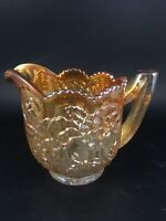 Antique Imperial Pansy Marigold Carnival Glass Creamer Iridescent Luster