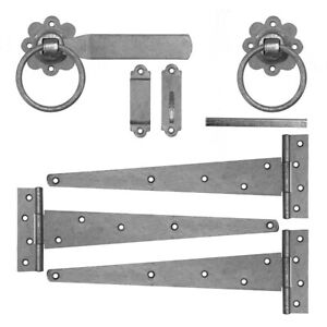 Heavy Tee Hinge and Gate Latch Set for Wooden Garden Gate Galvanised