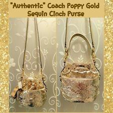 Authentic Coach Poppy Gold Sequin Cinch Bucket Purse No D1169-17906