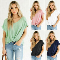 Womens V Neck Short Sleeve Plus Size Shirt Blouse Pleated Solid T Shirt Tops US