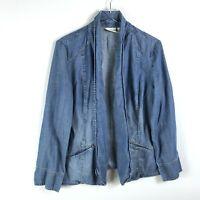 Chicos Platinum 2 Chambray Jacket Blue Size Large Denim Long Sleeve Open Front
