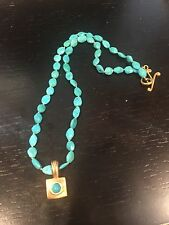 Robin Rotenier Faceted Turquoise Beads & 18K Yellow Gold Pendant