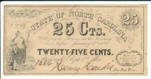 NC12 State of North Carolina 1862 25c Note No Plate Letter
