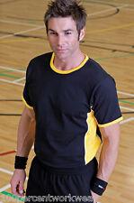 Taglia XL Finden Hales LV202 Nero Giallo Contrasto T-Shirt girocollo manica corta T Shirt