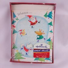 Hallmark Christmas Cards Ice Skating Santa Animals Boxed 16 Cards and Envelopes