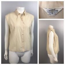 1950s Sleeveless Blouse Top / Beige Cotton Button Up Blouse Shirt / Large