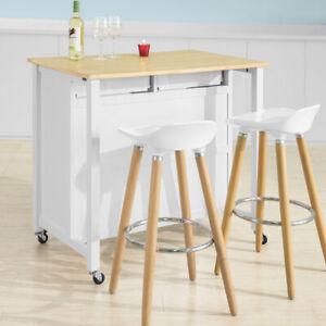 SoBuy® Wood Kitchen Trolley Storage Cupboard  Bar Table,White,FKW74-WN,UK