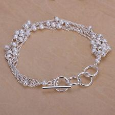 "Unisex Women's 925 Sterling Silver Bracelet Adjustable Size"" L1"