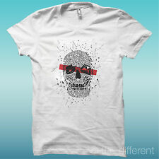 "T-SHIRT "" TESCHIO ARTE ART SKULL ""BIANCO THE HAPPINESS IS HAVE MY T-SHIRT NEW"