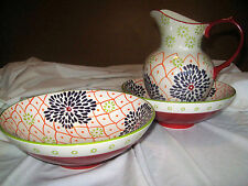 Pitcher for Milk Mexican Decoration Two Serving Bowls Dishwasher Micro Safe