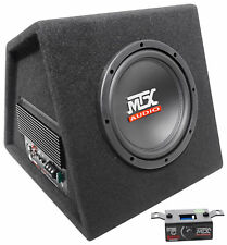 "MTX RTP8A 8"" 120w RMS Powered Subwoofer In Vented Sub Box Enclosure+Bass Remote"