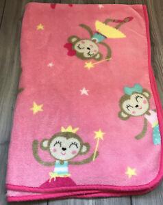 Carters Pink Blanket Monkeys Ballerina Princess Lovey Crown Wand Stars Fleece