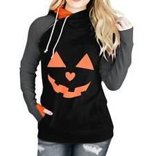 Womens Halloween Pumpkin Print Hooded Sweatshirt Casual Pullover Hoodies Tops L