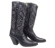 Caboots Tall Black Cowboy Boots Mn's 8D Tall Heels Pointy X-Toes Excellent Cond.