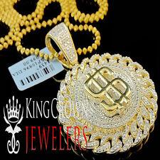Genuine Diamond Miami Cuban $ Sign Money Pendant Charm 10K Yellow Gold Finish
