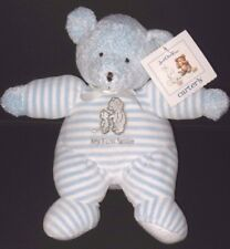 Carters Just One Year Blue Bear My First Smile Stripe Rattle Soft Plush Toy NEW