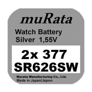 2x Murata/Sony 377 Uhren-Batterie Knopfzelle SR626SW SR626 AG4  Neu Silberoxid