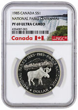 1985 Canada Proof Silver Moose National Parks Centennial $1 NGC PF69 UC SKU34589