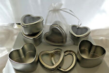10 x Heart Shape Silver Tins Seamless, Wedding, Bath salts, Body products etc.