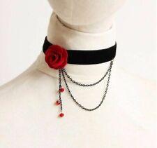 RED ROSE FLOWER Black Choker Necklace Velvet Wedding Bridal Lace Collar Chain