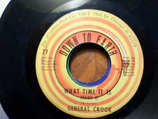 DOWN TO EARTH 45 RECORD/GENERAL COOK/WHAT TIME IT IS PART 1 AND 2/ VG MINUS