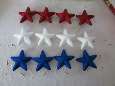 """12pc- 3"""" Patriotic Red, White & Blue Glitter Star Ornaments - 4th of July, New"""