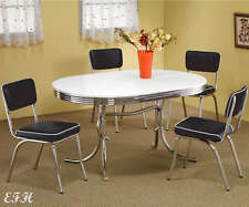 NEW 50's STYLE CHROME RETRO 5PC OVAL KITCHEN DINING TABLE SET BLACK CHAIRS