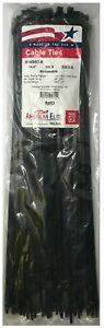 """(100) Black Releasable 14"""" Inch Nylon Cable Wire Wrap Zip Ties 50 LBS - USA MADE"""