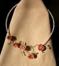 collier semirigido rose porcellana e perle vere 17-01 -fiori- confezione regalo