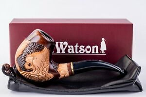 Dr. Watson - Wooden Tobacco Smoking Pipe, Carved, Fits 9mm filter (White Lion)