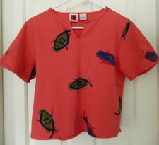 Red Ginger Whimsical Tropical Fish Print Shirt Top Tee-PL, coral