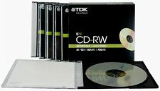 TDK T18791 4X-12X Speed 700MB 80min CD-RW - Slim Jewel Case Pack of 5 CDs