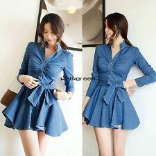 Women's Long Sleeve Denim pleated Blue Casual Lapel Solid Tunic MIni Dress WN