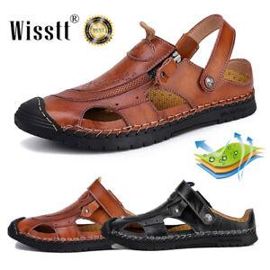 Summer Shoes Fashion Men's Leather Sandals Close Toe Zip Up Sandles Sports 38-48