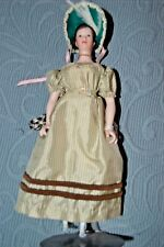 "UFDC Exceptionally Costumed 9"" Miniature Fashion Lady Doll Dressed Silk Perfect"