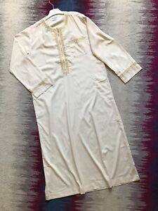 Hanyimidoo Mens Muslim Beige Long Sleeve Robe Kaftan Full Length Dress Size M Ne