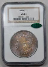 1884-O Morgan Dollar NGC MS63 CAC PQ nice violet+orange dual toned