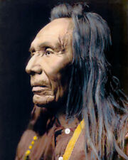 "THREE EAGLES NATIVE AMERICAN INDIAN NEZ PERCE 1910 8X10"" HAND COLOR TINTED PHOTO"