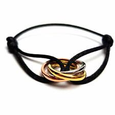 Trinity Armband Frauen schwarz golden Tricolor Ring und Schmuckkordel