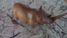 Carved Wood Rhinoceros Sculpture