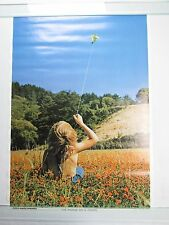 Vintage 1971 THE WORLD ON A STRING Poster Hippie Peace Child Boy Flying Kite NOS