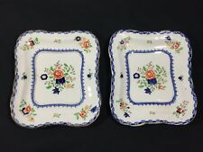 BOOTHS SILICON CHINA ENGLAND LOT 2 BLUE FLORAL PORCELAIN SQUARE DISHES PLATES