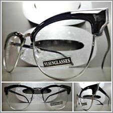CLASSIC VINTAGE RETRO CAT EYE Style Clear Lens EYE GLASSES Black & Silver Frame