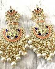 Jhumka Indian Earrings Jhumki Kundan Bollywood Jewelry Peach Jhumka Meenakari