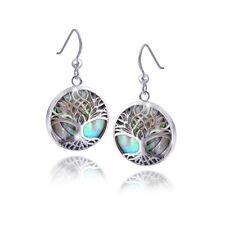 MATERIA Damen Ohrhänger Lebensbaum rund 925 Sterling Silber mit Perlmutt grün