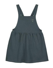GRAY LABEL Pinafore Blue Green Dress Organic Sz. 18 - 24M $60 Made in PORTUGAL