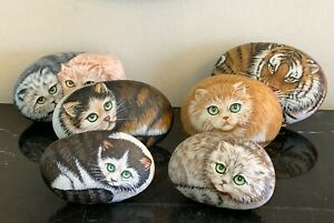 Vintage Set of 6 Hand Painted Cats on Rocks Paperweights Signed by Artist IKU