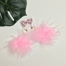 Womens Pink Swan Crystal Feather Statement Dangle Earrings Costume Jewelry