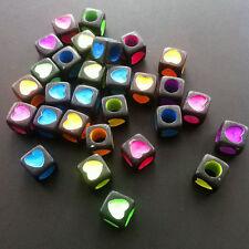 25Pcs 6x6mm black with color Acyrlic heart Beads - Random Mixed ts08
