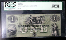 1862 Morris County Bank MORRISTOWN, NJ ONE Dollar  OBSOLETE REMAINDER NICE $1